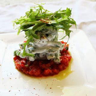 Salad of Hericots Verts, Tomato Tartare, and Chive Oil.