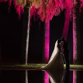 Light It Up... by Nigel Hepplewhite - Wedding Bride & Groom ( bride, love, groom, couple, reflection, pool, lights )