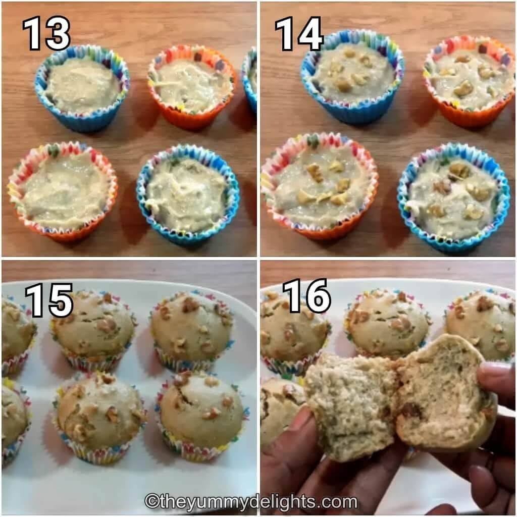 step by step image collage of pouring the batter in muffin mould and baking it.