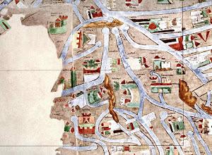Photo: Die PLASSENBURG in der 'francia orientalis' (Neueste Rekonstruktion): Die PLASSENBURG in der 'francia orientalis': In der oberen Mitte die vier Quellflüsse von  Mulde, Saale, Main und Naab.  Am 'Moin fl.' die PLASSENBURG ('Blassenb c.'), links davon Orlamünde, rechts von der Plassenburg Nürnberg ('Nurenberch c.'),  darunter Bamberg ('Pavenborch'), schräg darüber Forchheim ('Vorchelem').  2007 wurde die 'Mappa mundi' in Segmente zerlegt, digital rekonstruiert und neu kommentiert; hier abgebildet das Segment 44: in Hartmut Kugler (Hrsg.), Die Ebstorfer Weltkarte, Band I: Atlas und II: Untersuchungen und Kommentar; Akademie Verlag 2007 [178,00 €]