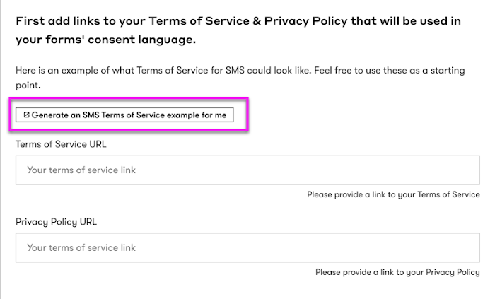 Generate SMS terms of service copy.