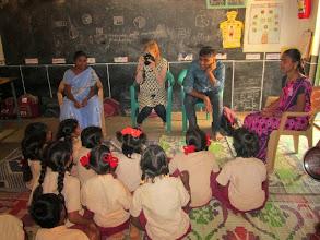 Photo: Sandeep and Nancy interacting with Hepsiba's class -- Placepalayam.