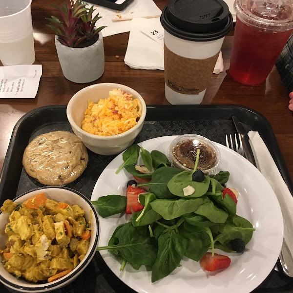 """""""Pick three"""" option. Tofu curry salad, spinach salad, pimento cheese. Peanut butter cookie, chocolate chip cookie. Chai latte, berry hibiscus iced tea :)."""