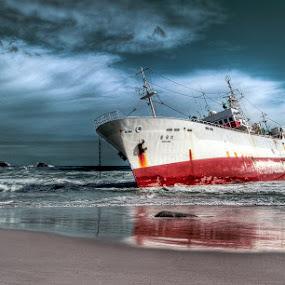 Beached Trawler by Robbie Aspeling - Transportation Boats ( trawler, ship, wreck, sea, fishing, storm, boat, cape town )