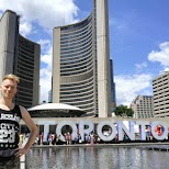 Nathan Philips Square with the Toronto sign in Toronto, Ontario, Canada