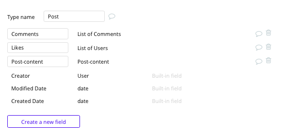 Instagram post database and data fields built with no code