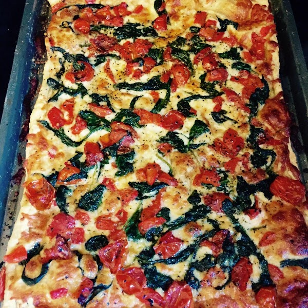 Sprinkle roasted tomatoes with salt and pepper.   Top cheese with spinach ,...