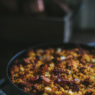 Pumpkin Cornbread Stuffing with Bacon & Dates