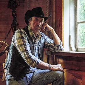 Ron by Robin Seaholm - People Portraits of Men ( cowboy, barn, vest, rope, hat, wood, window, portrait, plaid,  )