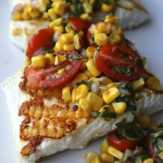 Grilled Halibut with Corn and Cherry Tomato Salsa.