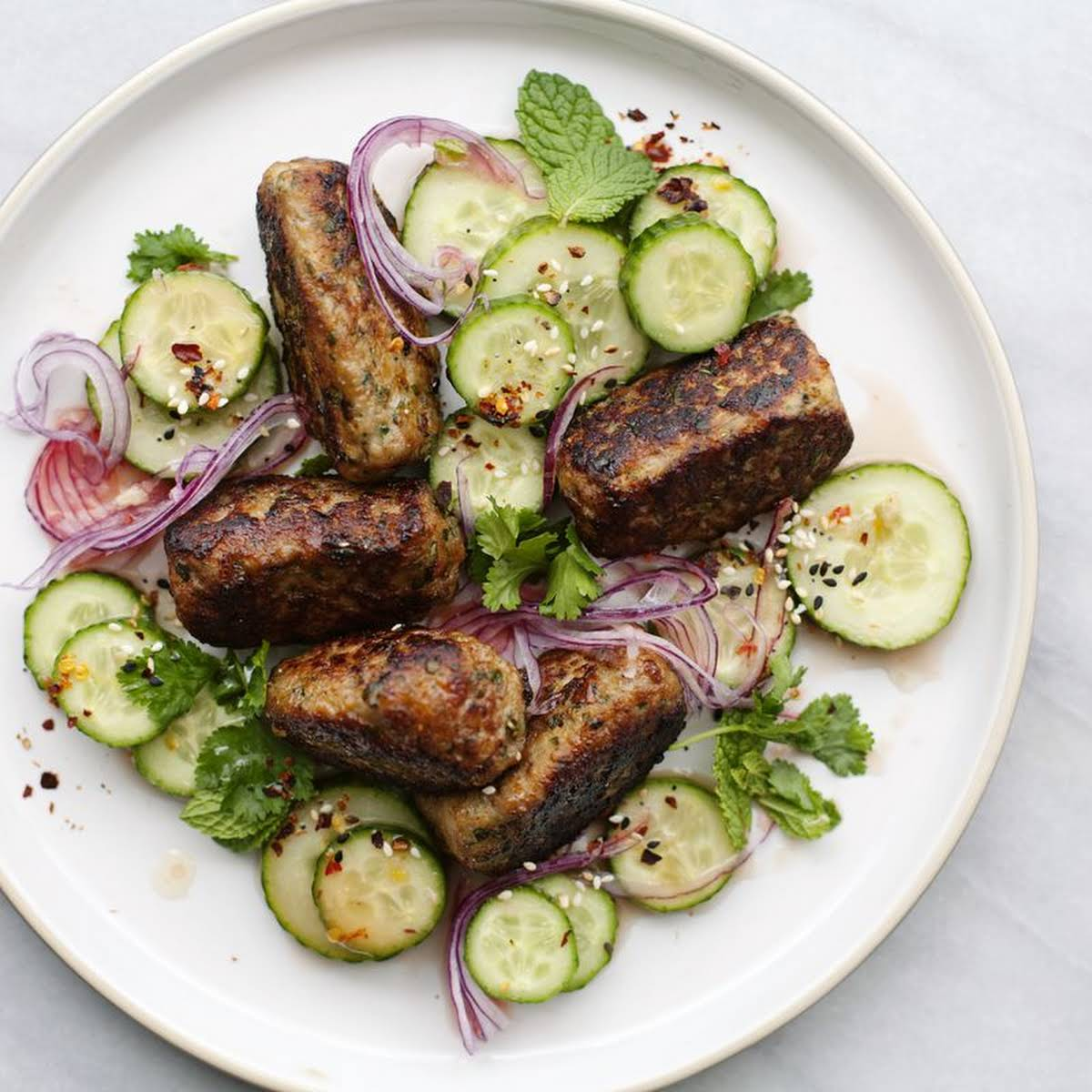 Herbed Chicken  like Nuoc Cham Cucumbers