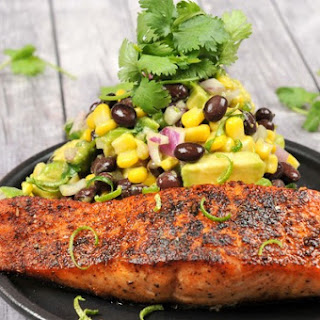Blackened Salmon with Avocado-Corn Salsa And Black Beans, Jalapeño, and Lime