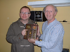 Photo: Wayne Hearne of Brown Jack receives the Wiltshire County Chess Association President's Shield from the Wiltshire County Chess Association Tournament Secretary Tony Ransom for being undefeated in the 2010-11 Wiltshire Chess Minor League.