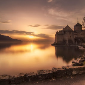 Chillon Castle by Daly Sda - Landscapes Sunsets & Sunrises ( castle, waterscape, golden hour, sunset, leman lac,  )