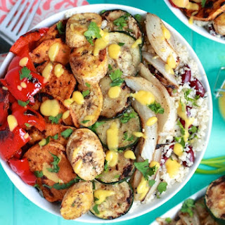 Caribbean Grilled Veggie Bowls with Cauliflower Rice and Peas