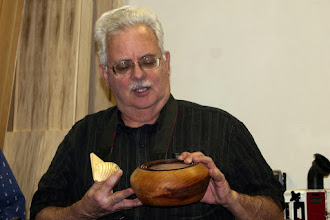 Photo: Jeff also brought this Bradford pear open-form vessel with a decorated rim...
