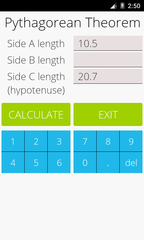 Pythagorean Theorem Calculator- screenshot