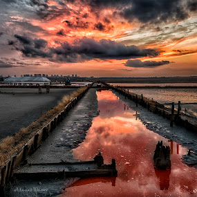 Burgas Salt Works by Atanas Donev - Landscapes Sunsets & Sunrises ( dramatic clouds, salt works, sunset, red water, fire in the sky )