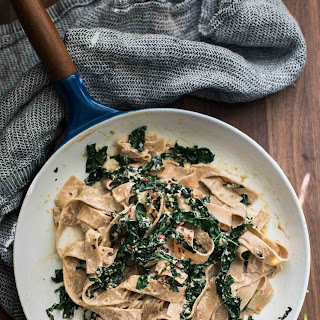 Kale Pasta with Sunflower Cream Sauce.