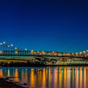 Roebling Suspension Bridge by Mike Svach - Buildings & Architecture Bridges & Suspended Structures ( sunset, twilight, reflections, night, cincinnati, bridge, river )