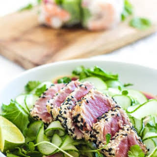 Sesame Crusted Ahi Tuna Salad.