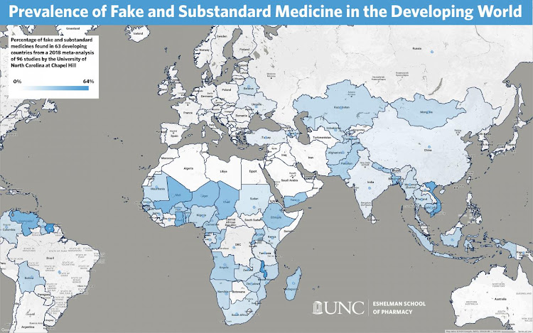 The colour-coded map shows the percentage of fake and substandard medicines found in 63 developing countries. Image: University of North Carolina Eshelman School of Pharmacy