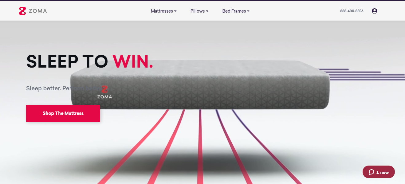 Zoma Mattress Landing Page Example