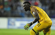 Richard Ofori of Maritzburg United is ready to defend any attempt at goalduring the Absa Premiership match between Maritzburg United and Cape Town City FC at Harry Gwala Stadium on April 07, 2018 in Pietermaritzburg, South Africa.