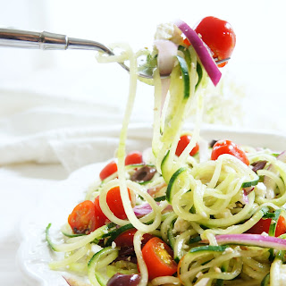 Spiralized Cucumber Greek Salad.