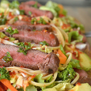 Asian Inspired Steak and Noodle Salad.