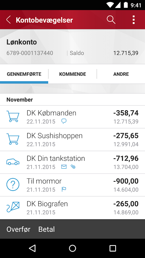 Østjydsk Banks MobilBank- screenshot