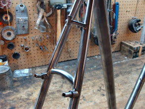 Photo: Tidy curved seat stay bridge with Paul's Racer brake mounts and my custom fab'ed brake cable stop.