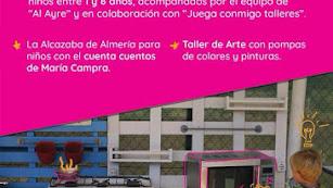 Cartel de actividades de Juega Conmigo Talleres en La Guajira. Almería