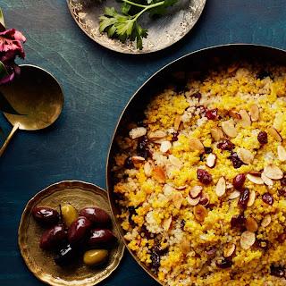 Saffron Quinoa with Dried Cherries and Almonds recipe | Epicurious.com.