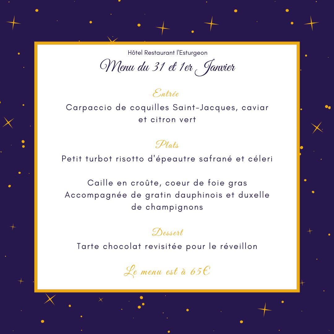menu du 31 et 1er janvier