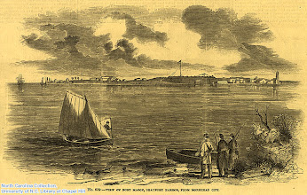 """Photo: """"View of Fort Macon, Beaufort harbor, from Morehead City."""" Supplement to Fran Leslie's Illustrated Newspaper, April 26, 1862."""
