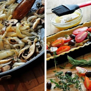 Pissaladière~ A French Tart with Caramelized Onions, Mushrooms & Tomatoes.