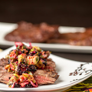 Grilled Skirt Steak with Blackberry Avocado Salsa
