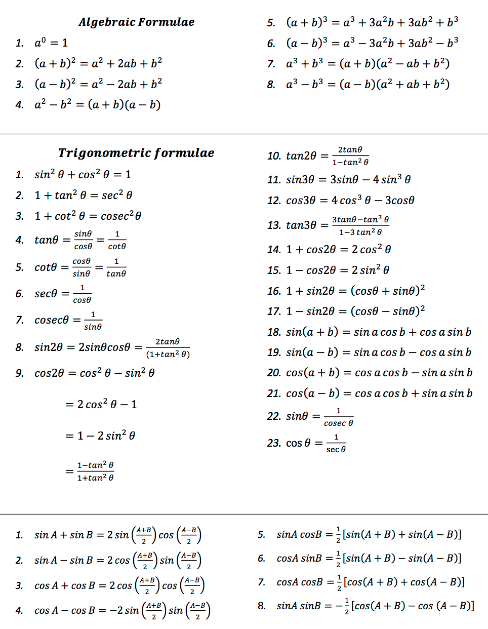 omtex classes hsc maths formula for board exam