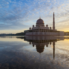 reflection of a mosque by Shahrin Ayob - Buildings & Architecture Places of Worship ( putrajaya, mosque, islam, muslim, dome, minaret, architecture )