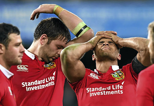 We blew it: British and Irish Lions players Iain Henderson, left, and Jonathan Joseph after losing to the Highlanders. Picture: REUTERS