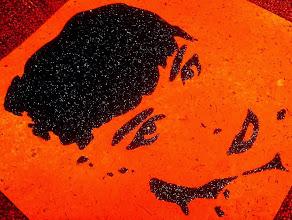 Photo: Sabrina (Red Version)  30x30cm  Soggetto realizzato con stencil fatto a mano, colori acrilici spray, strass di resina, brillantini neri su sughero.  Subject made with handmade stencil with spray acrylic colours, resin strass, black glitters on cork.  DISPONIBILE  Per informazioni e prezzi: manualedelrisveglio@gmail.com