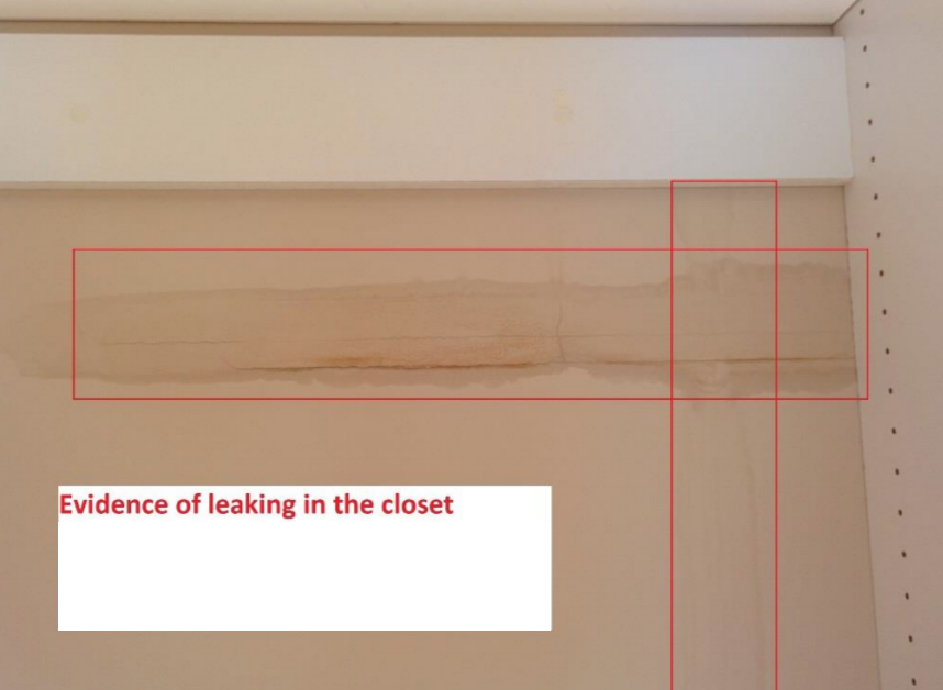 Leaking closet from construction defect