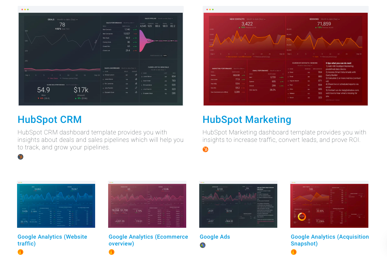 databox's marketing reporting template directory