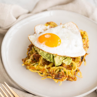 Spiralized Potato Chive Waffles with Avocado Mash and Fried Egg Recipe