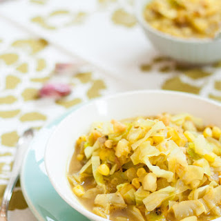 Curried Corn & Cabbage Soup.