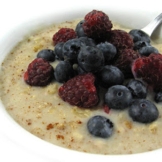 Hearty and Yummy, Heart Healthy Oatmeal With Berries.