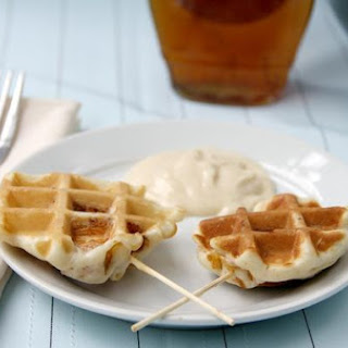 Crunchy Chicken Stuffed Waffle Pops & Maple Dijon Dip