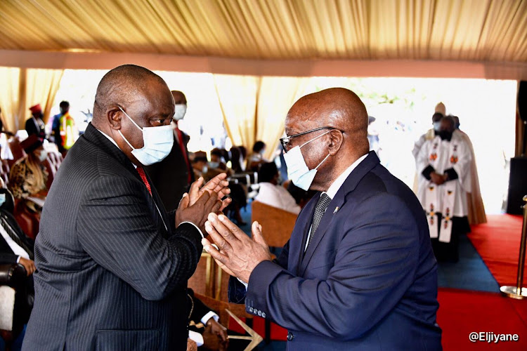 President Cyril Ramaphosa greets former president Jacob Zuma after he gave a moving tribute to the late Zulu monarch King Goodwill Zwelithini in Nongoma.