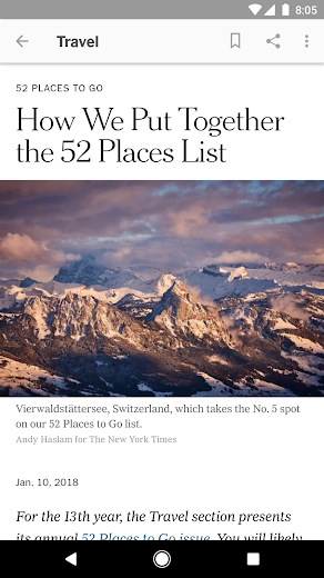 Screenshot 5 for The New York Times's Android app'
